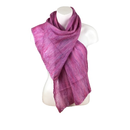 Merino wool on silk nuno felted scarf in pink and lilac shades