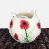 Wet felted pod, plant pot, ornamental pot, white with poppies