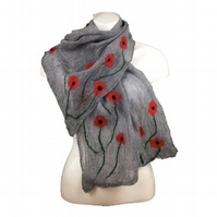 Lightweight scarf, nuno felted grey merino wool on silk with poppy design