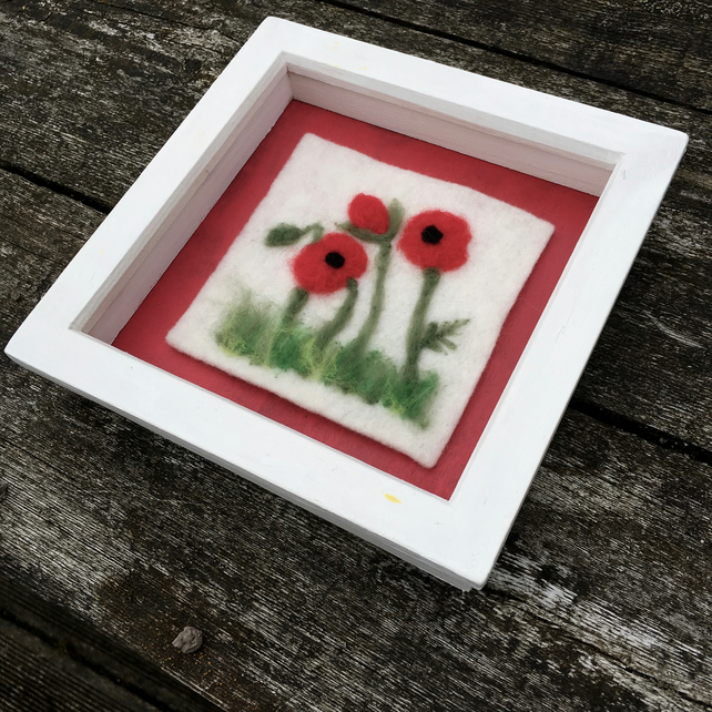 Poppy picture, needle felted in box frame - SALE