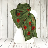 Green nuno felted long poppy scarf, merino wool on cotton