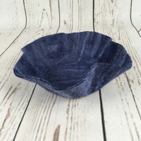 Fluted blue felt bowl, decorative dish, trinket dish, wet felted in merino wool