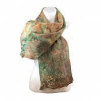 Silk and wool nuno felted scarf in brown, orange and green