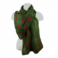 Scarf, nuno felted merino wool on silk, green with poppy design