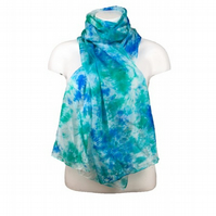 Large Silk scarf, hand dyed in blue, green and turquoise shades