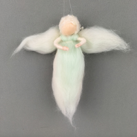 Whimsical woollen fairy, angel in white and mint green merino wool