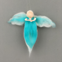 Merino wool whimsical fairy, angel in turquoise and white