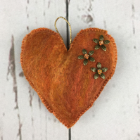 Orange padded wet felted, lavender scented heart  SALE
