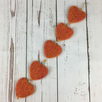 Needle felted hanging heart garland, orange