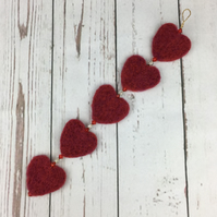 Red needle felted heart garland