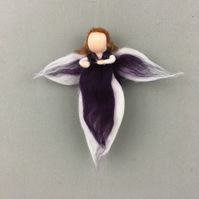 Whimsical woollen fairy, angel (purple)