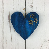 Lavender scented padded felt heart in blue shades of merino wool - SALE