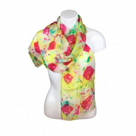 Hand dyed silk scarf in green, yellow and pink