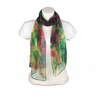 Silk chiffon scarf, hand made and hand dyed in green, red and yellow