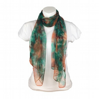 Silk scarf, hand dyed in green, orange and brown