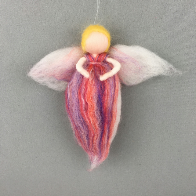 Woollen fairy or angel in pink and lilac
