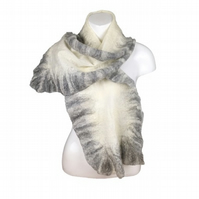 Merino wool and silk scarf, nuno felted in white with a grey ruffled border