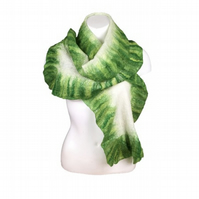 Scarf, white with green ruffled border, merino wool nuno felted on silk chiffon