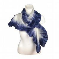 Nuno felted scarf with blue ruffled border , merino wool on silk