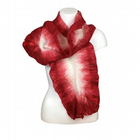 Nuno felted scarf, merino wool on silk with red ruffle border