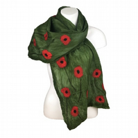 Merino wool scarf, green with poppies, nuno felted on silk