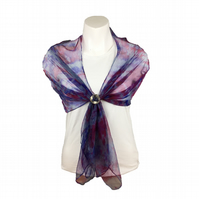 Scarf, grey silk chiffon scarf hand dyed with pink and purple