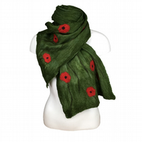 Long scarf nuno felted, green with poppy design