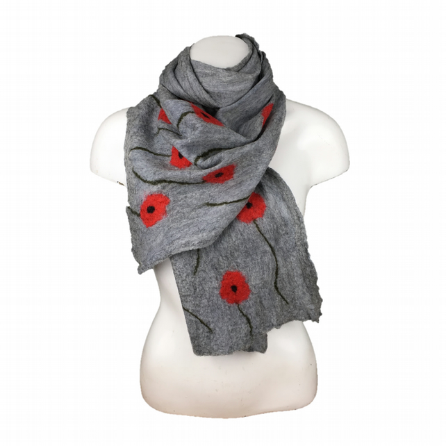 Grey poppy nuno felted scarf, longer length, merino wool on silk chiffon