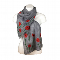 Merino wool lightweight scarf nuno felted on silk chiffon, grey with poppies
