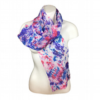 Nuno felted scarf, merino wool overlaid with silk chiffon in red blue and purple