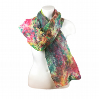 Scarf, silk chiffon nuno felted on merino wool in green, pink and yellow