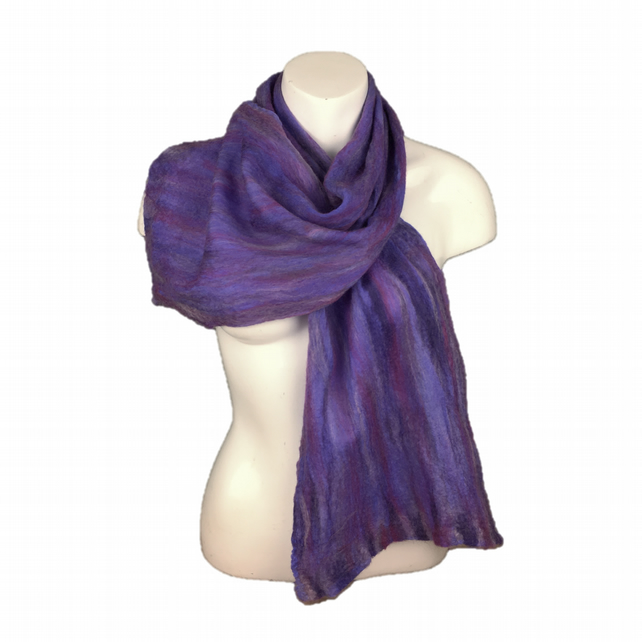 Scarf, silk chiffon nuno felted with merino wool in purple