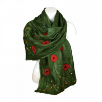 Green nuno felted scarf with floral poppy design