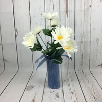 Flower vase, hand felted in blue merino wool with glass bottle insert