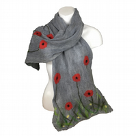 Nuno felted lightweight scarf, grey with floral poppy design