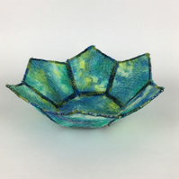 Textile bowl, trinket dish, coin tray, nuno felted in blue, green and yellow