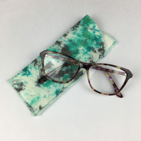 Glasses case, slip case, nuno felted hand dyed silk with merino wool