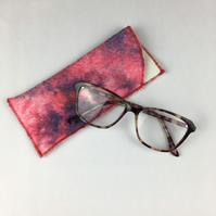 Glasses case, spectacles slip case, nuno felted hand dyed silk with merino wool