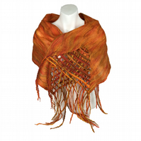 Orange nuno felted scarf, merino wool on silk with tassels and lattice detail