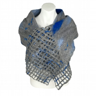 Grey and blue merino wool and silk nuno felted scarf with lattice detail - SALE