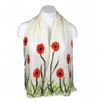 Poppy scarf, white merino wool nuno felted on silk chiffon