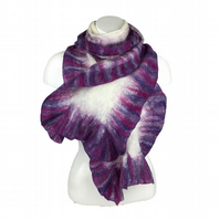 Merino wool nuno felted scarf on silk, white with pink and purple ruffled border
