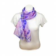 Silk scarf, fashion scarf, hand dyed ponge 5 silk in pink and purple