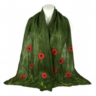 Green poppy nuno felted scarf, longer length, merino wool on silk