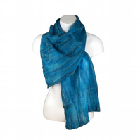 Womens fashion scarf, nuno felted merino wool and silk scarf in ocean blue green