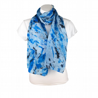 Crepe de chine silk scarf, hand dyed in blue and black