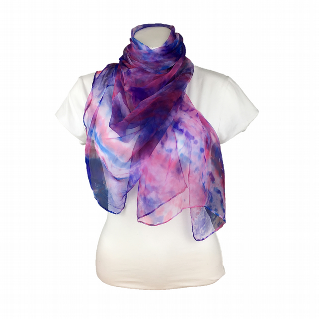 Silk chiffon fashion scarf, womens scarf, hand dyed, red, blue and purple