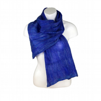 Merino wool and silk nuno felted scarf in blue