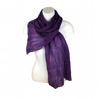 Merino wool and silk nuno felted scarf in purple