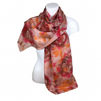Silk crepe de chine hand dyed scarf in brown and red shades